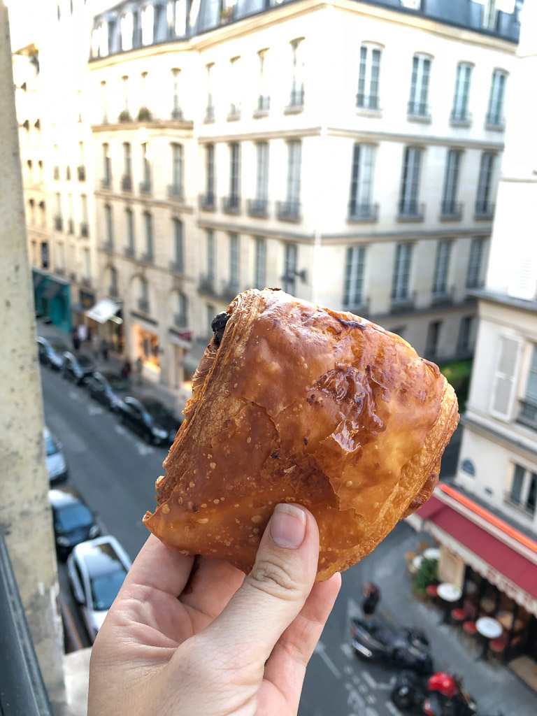 Comprehensive Guide to Paris: Pain au Chocolat from a hotel window in Paris