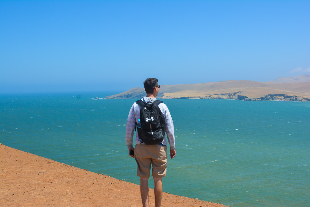 Overlooking the ocean in Paracas National Reserve in Ica, Peru