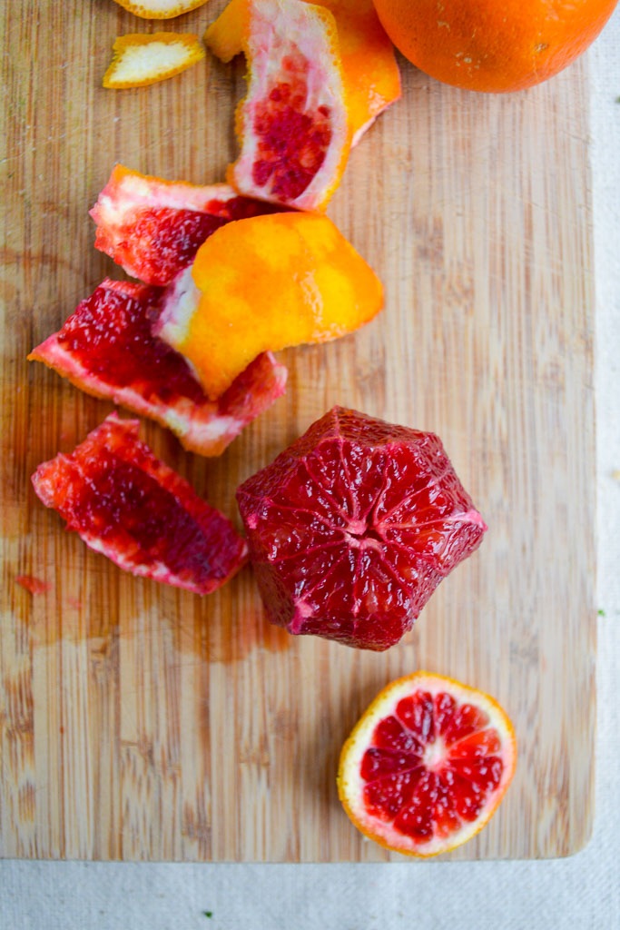 Peeled blood oranges
