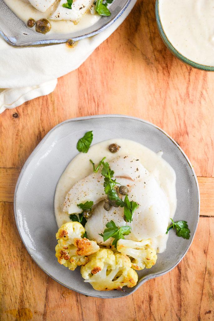 Baked Cod with Lemon Caper Cauliflower Sauce