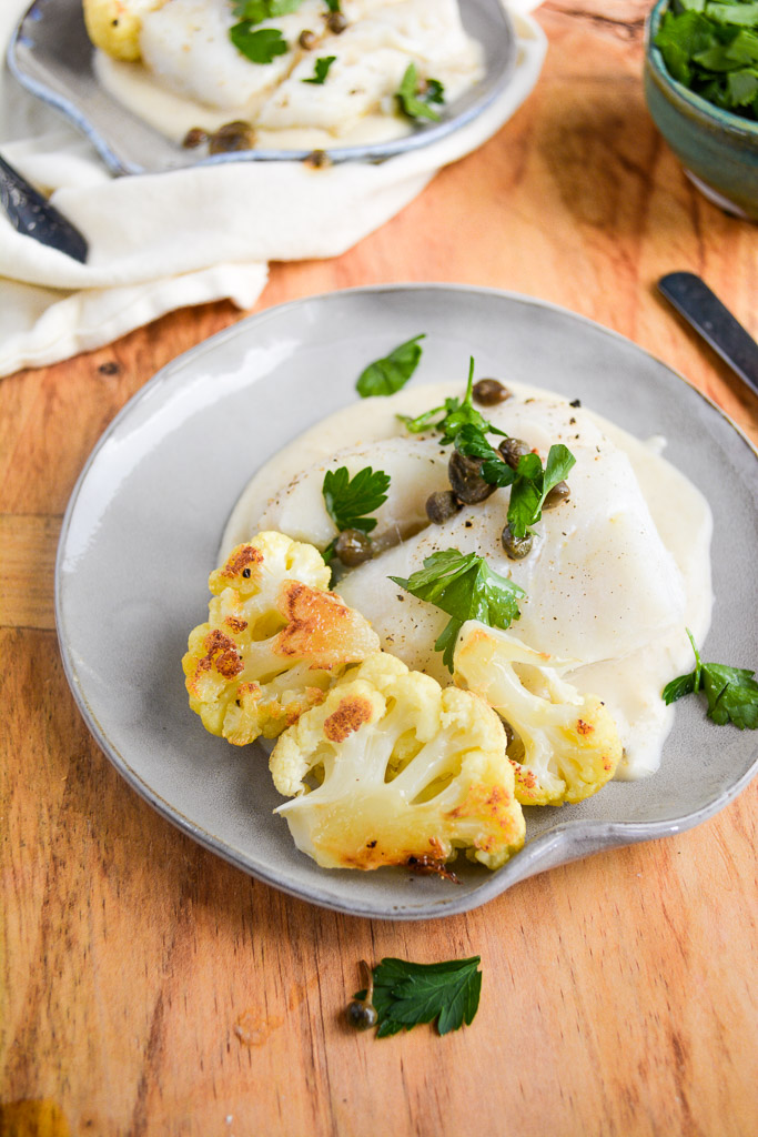 Baked Cod with Lemon Caper Cauliflower Sauce