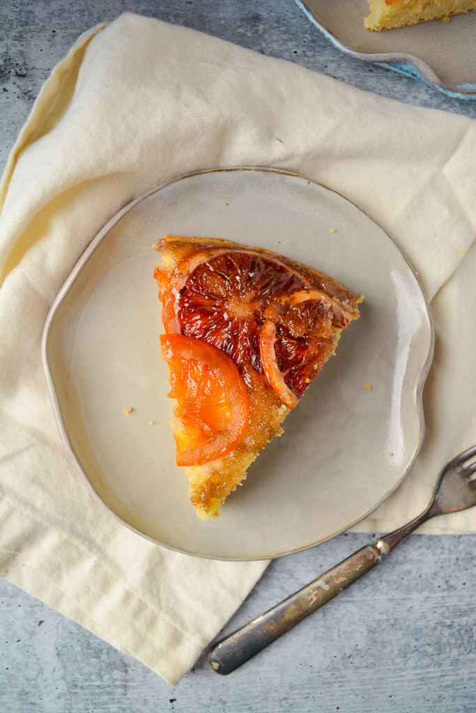 A decadent slice of Blood Orange Upside Down Cake