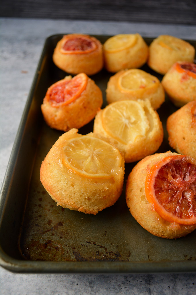 Blood Orange and Meyer Lemon Upside Down Cupcakes