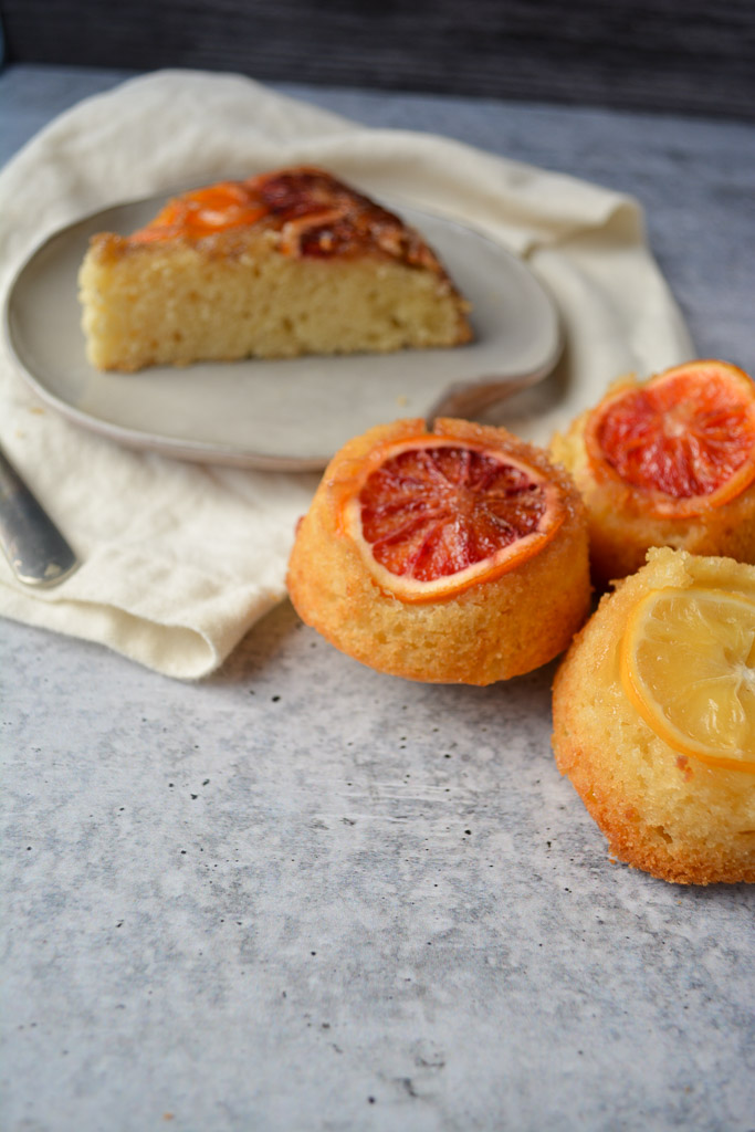 Blood Orange Upside Down Cake and Upside Down Cupcakes