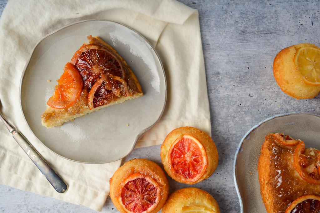 Blood Orange Upside Down Cake and Upside Down Cupcakes