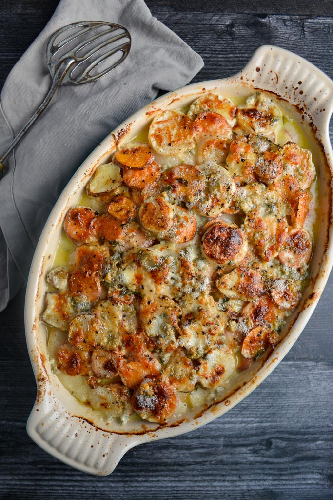 Golden Root Vegetable Gratin with Sunchokes, Turnips, Celery Root, and Sweet Potatoes