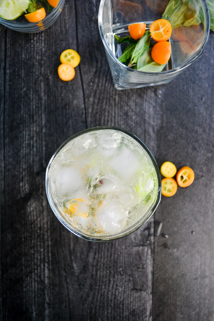 Thai Basil and Kumquat Mojitos