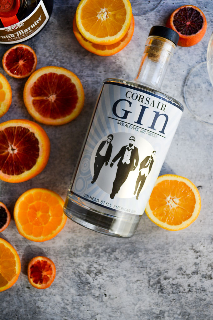 Corsair gin with navel oranges, blood oranges, and cara cara oranges