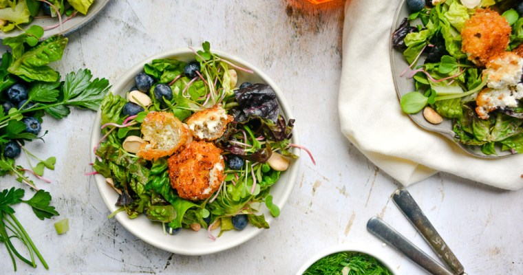 Spring Salad with Crispy Goat Cheese