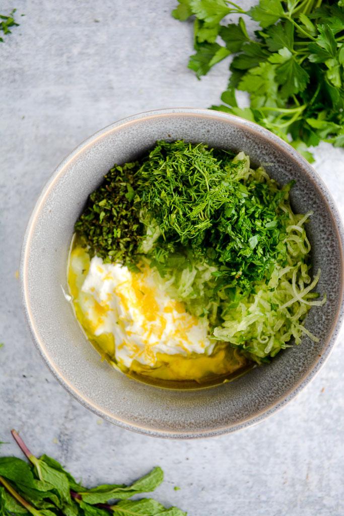 Greek Yogurt with Lemon Juice, Olive Oil, Cucumber, Mint, Dill, and Parsley