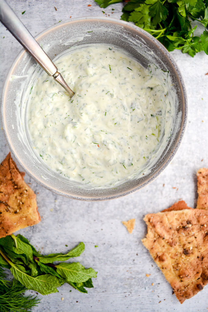 Easy Tzatziki Sauce with Cucumber, Dill, Mint, ad Parsley