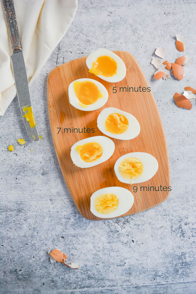 Eggs cooked for 5 minutes, 7 minutes, and 9 minutes