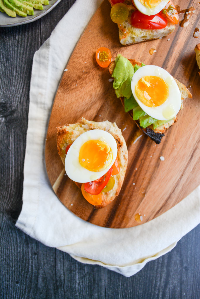 Avocado Toast and Tomato toast with soft boiled eggs