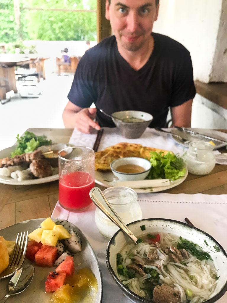Fresh watermelon juice for breakfast in Ninh Binh Vietnam