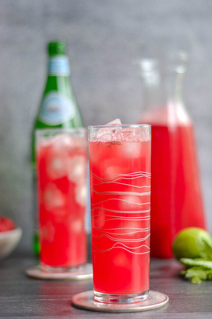 Watermelon spritzer with fresh watermelon juice, sparkling water, lime, and mint