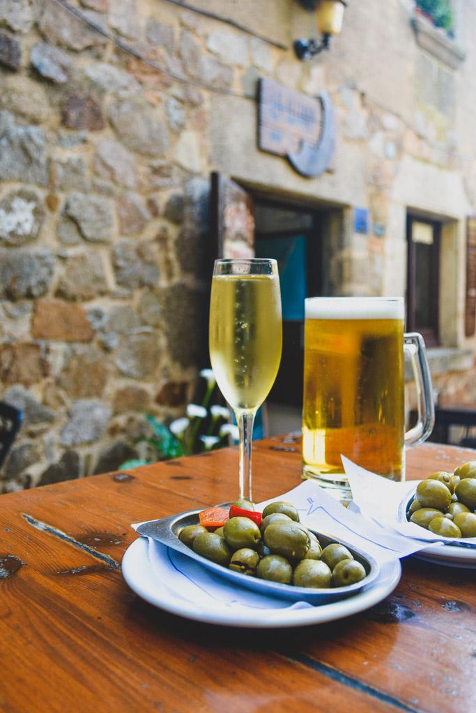 Cava and Olives at La Lluna in Tossa de Mar