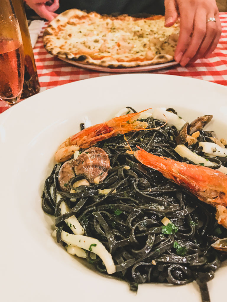 Squid Ink Pasta at Pizzeria La Grotta