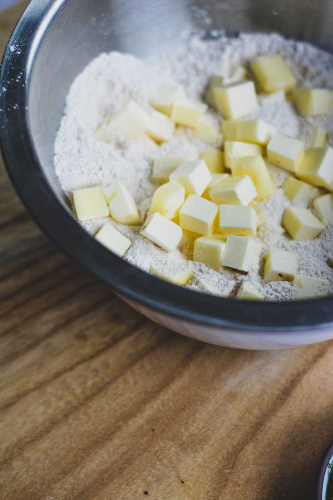 Flour mixed with cubed butter