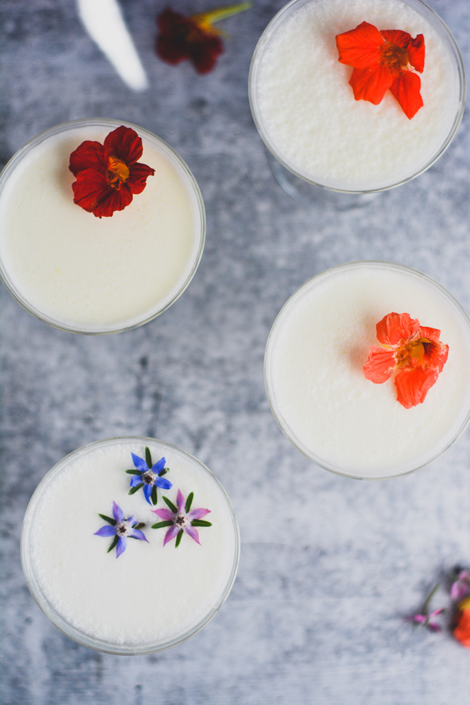 Gin Fizzes with Edible Flowers