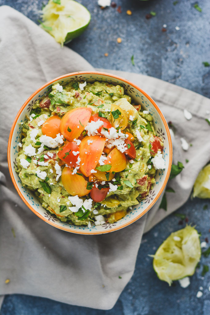 Mediterranean Avocado Dip topped with Feta Cheese