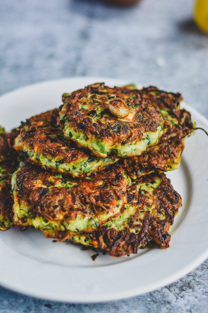 Zucchini fritters with garlic, parsley, green onion, and feta