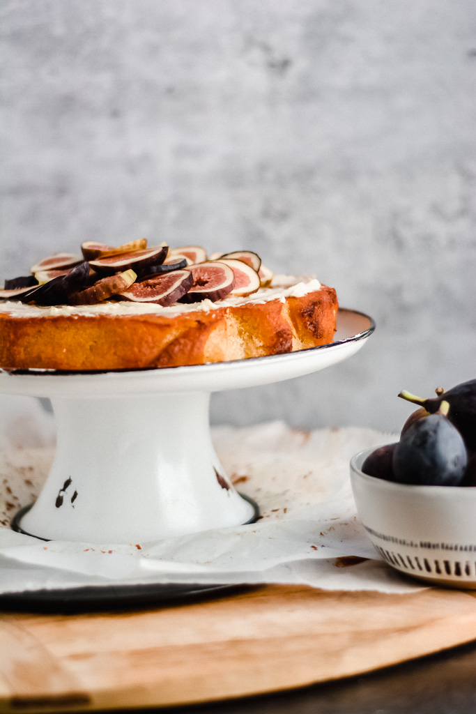 Fresh figs topped on a citrusy olive oil cake