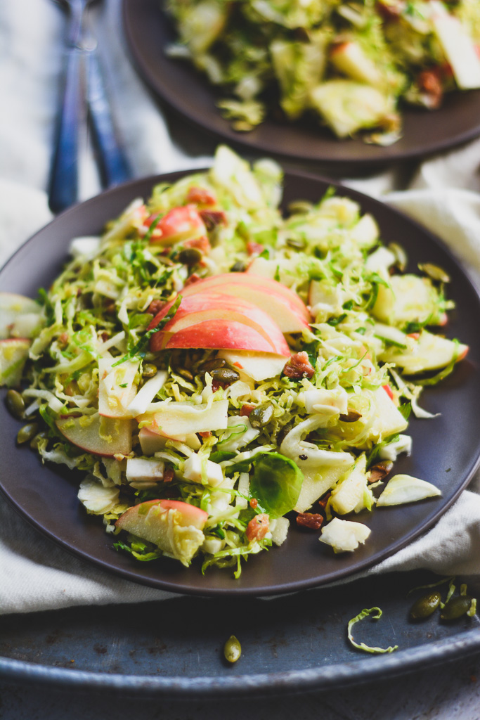 Shaved Brussels Sprouts Salad with Honeycrisp Apples