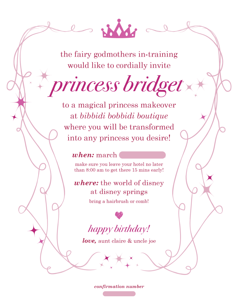 Bibbidi Bobbidi Boutique Invitation - with information blocked out:)