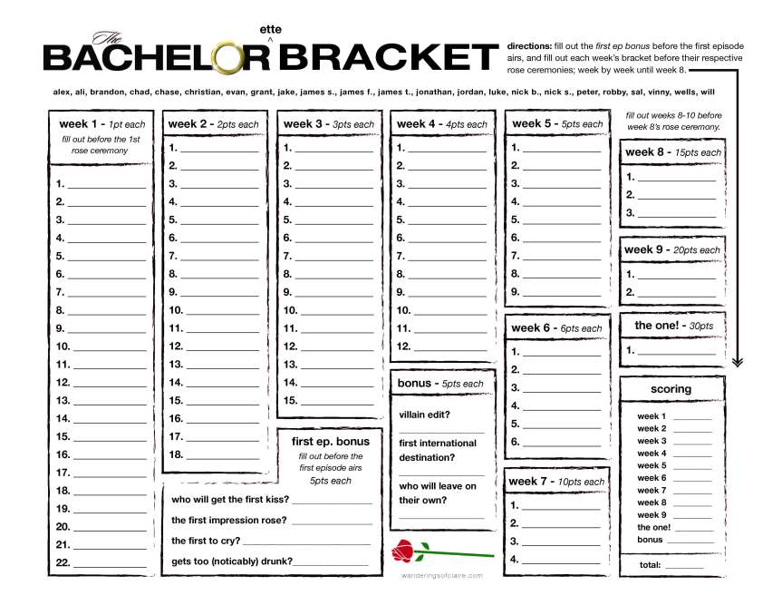 Playful image inside bachelor bracket printable colton