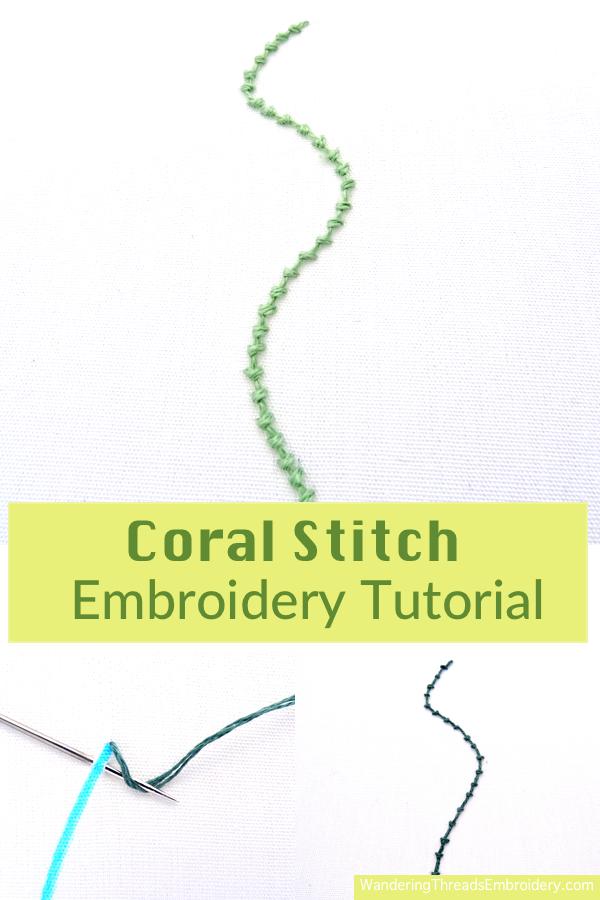 Embroidery Outline Stitch : embroidery, outline, stitch, Coral, Stitch, Embroidery, Tutorial, Wandering, Threads