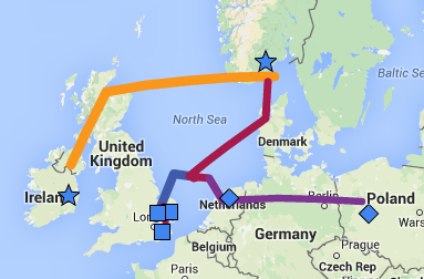 map of migration from Norway to Ireland then through Denmark to England and Belgium and from Belgium to Poland.