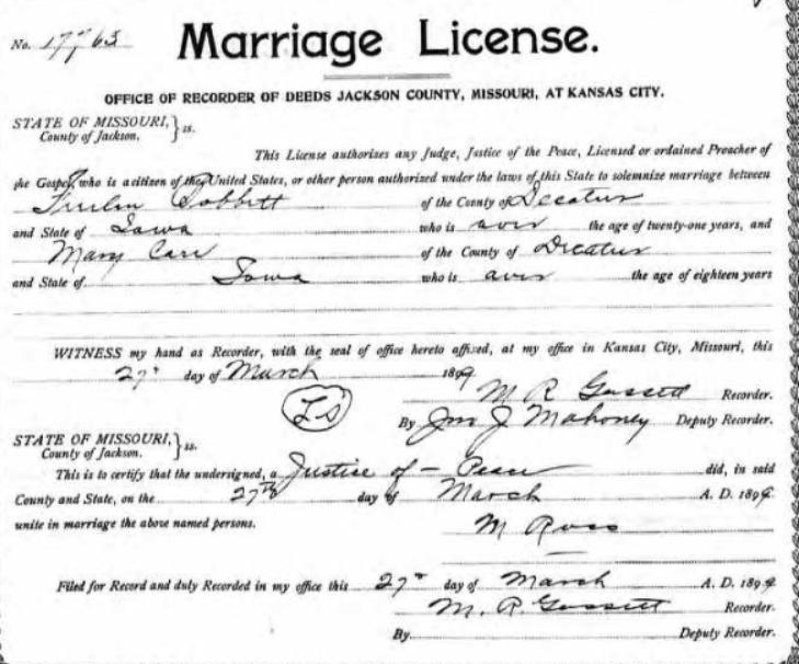 marriage of mary carr and freelin bobbitt