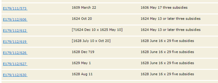 listing of poll taxes from 1620 to 1633 in braintree