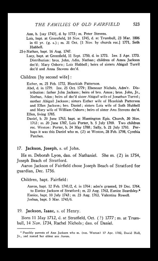 families of old fairfield Isaac Jackson listed at the bottom with wife Rachel Nichols (daughter of Daniel)