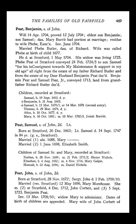 Hanna Peat born 1694 daughter of Samuel Peat and Mary unknown is listed as married to Daniel Nichols.
