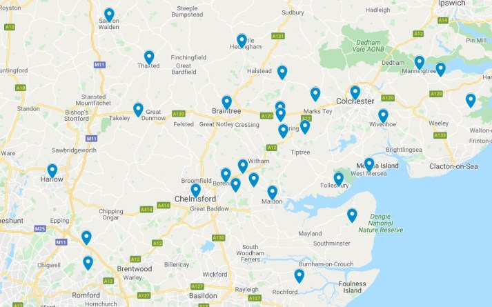 broad overview map of Elmers in Essex listed below.