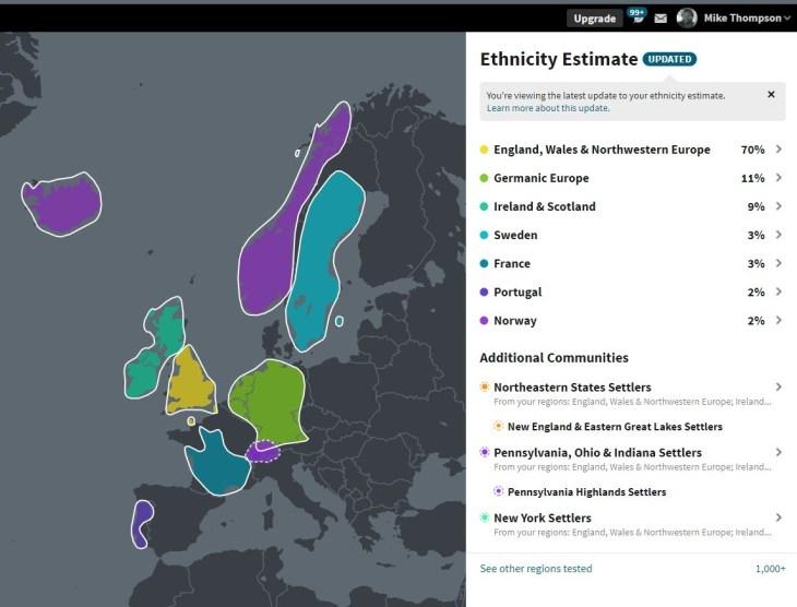 Ancestry DNA Ethnicity Estimate 2019.