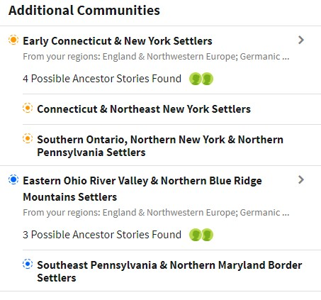 Ancestry DNA communities featuring Early Connecticut and New York Settlers and Eastern Ohio River Valley and Northern Blue Ridge settlers.