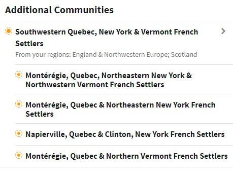 Cheryl's communities showing Southwestern Quebec, New York and Vermont French Settlers.