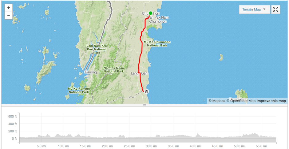 Chumphon to Lamae cycle route Strava