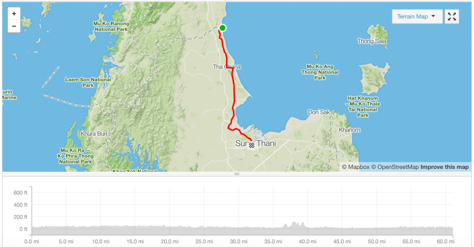 Lamar to Surat Thani cycle route Strava