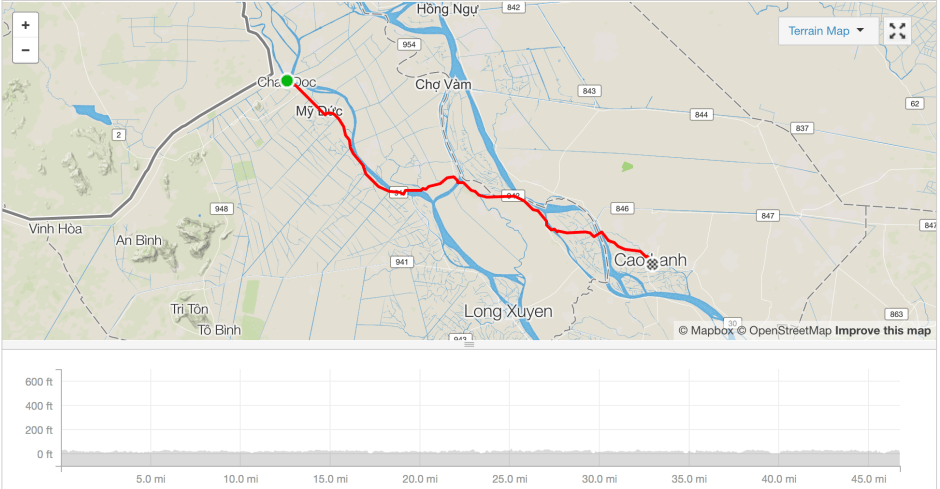 Chau Doc to Cao Lanh cycle route Strava