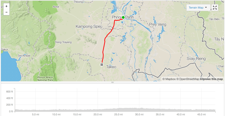 Phnom Penh to Tram Kat cycle route strava
