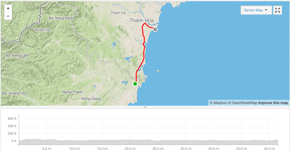 Hoang Mai to Sam Son cycle route Strava