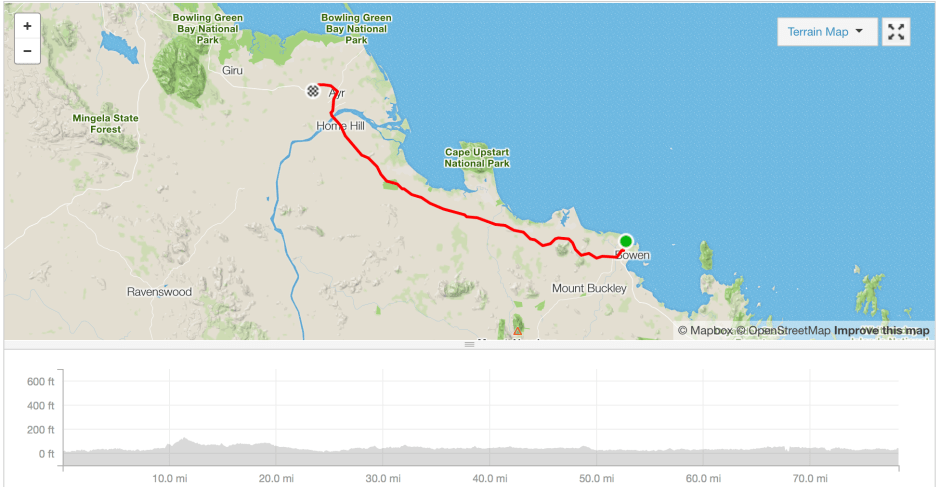 Bowen to Ayr cycle route Strava