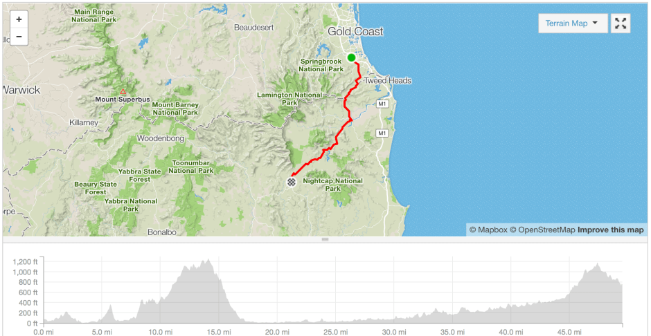 Gold Coast to Lillifield cycle route Strava