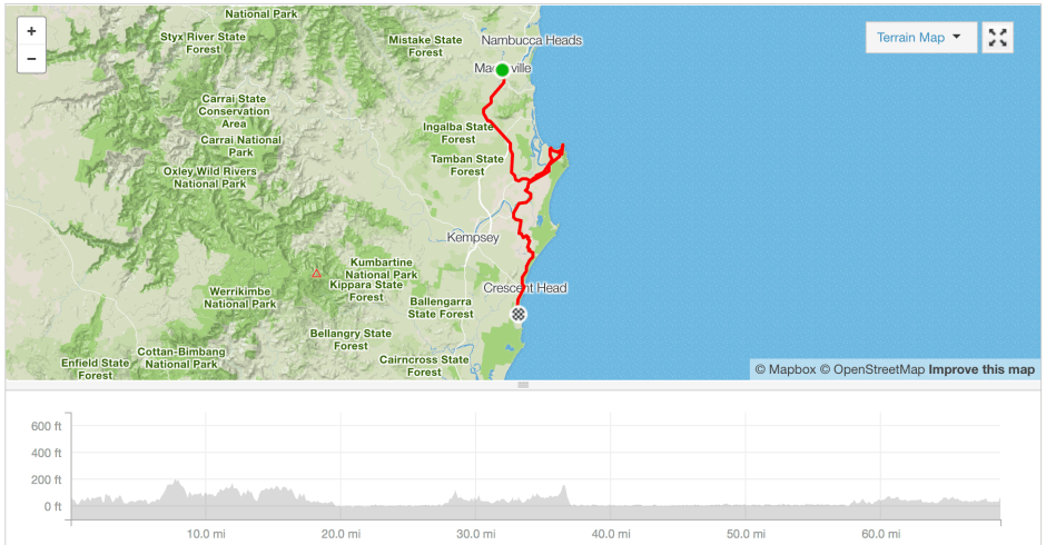 Macksville to Crescent Head cycle route Strava