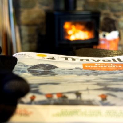 Log fire newspaper