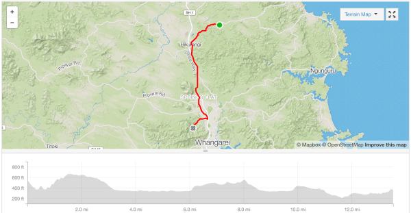 Hikurangi to Whau Valley Dam cycle route Strava