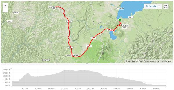 Tokaanu to Taumarunui cycle route Strava